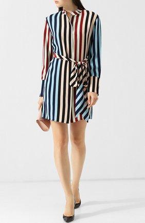 Шелковое платье-рубашка с поясом и принтом Diane Von Furstenberg разноцветное   Фото №1