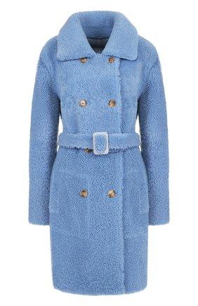 Двубортное пальто из овчины с поясом Yves Salomon светло-голубая | Фото №1
