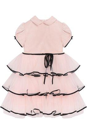 Хлопковое платье с многослойной отделкой Aletta светло-розового цвета   Фото №1