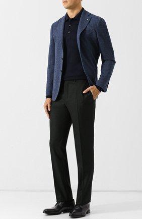 Поло с длинными рукавами из смеси шерсти и кашемира с шелком Luciano Barbera темно-синее | Фото №1