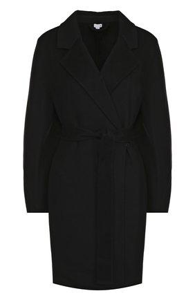 Однотонное кашемировое пальто с поясом Tse черного цвета | Фото №1