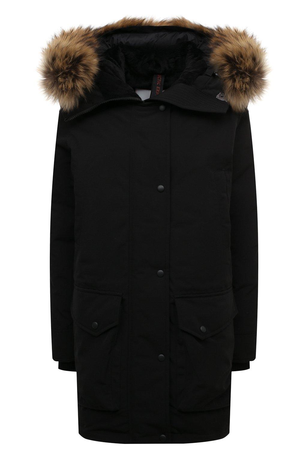 Женская парка с накладными карманами и меховой отделкой ARCTIC EXPLORER черного цвета, арт. CHILL_BLK_W | Фото 1