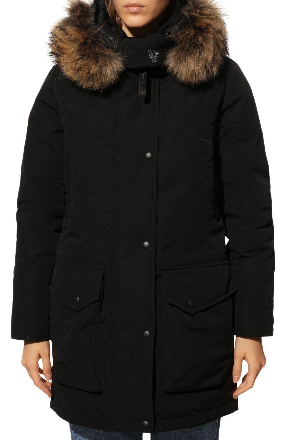 Женская парка с накладными карманами и меховой отделкой ARCTIC EXPLORER черного цвета, арт. CHILL_BLK_W | Фото 3