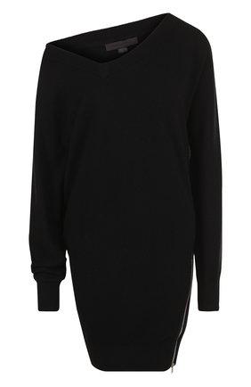 Однотонное мини-платье из смеси шерсти и вискозы с кашемиром Alexander Wang черное | Фото №1