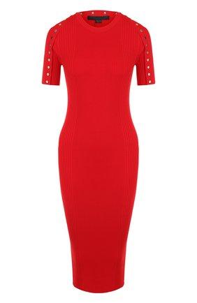 Хлопковое платье-миди с круглым вырезом Alexander Wang красное | Фото №1