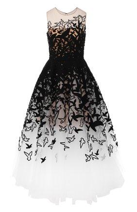 Приталенное платье-миди с пышной юбкой и декоративной отделкой Oscar de la Renta черное | Фото №1