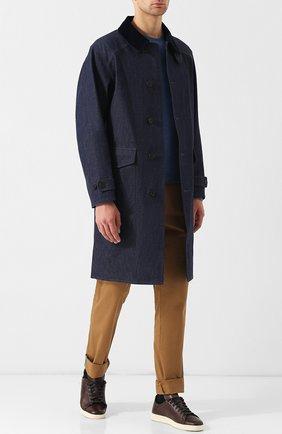 Удлиненная джинсовая куртка на пуговицах RRL синяя | Фото №1