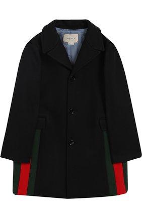 Однобортное пальто из шерсти с контрастной отделкой   Фото №1