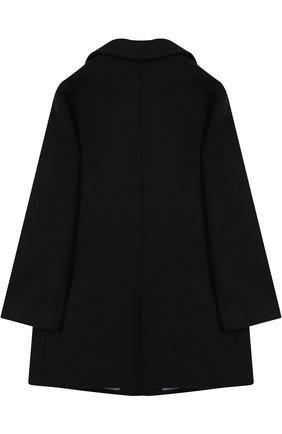 Детское однобортное пальто из шерсти с контрастной отделкой GUCCI темно-синего цвета, арт. 516372/XB825   Фото 2