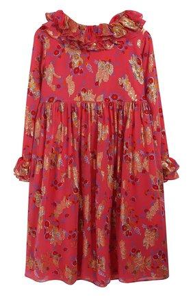 Шелковое платье с металлизированным принтом и оборками | Фото №1