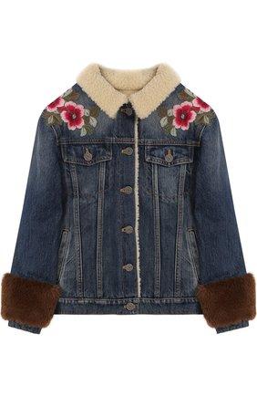 Джинсовая куртка с вышивкой и декоративной отделкой | Фото №1