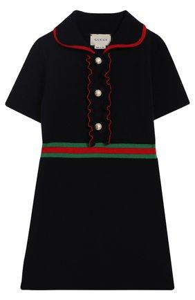 Кашемировое платье с оборками и отделкой | Фото №1