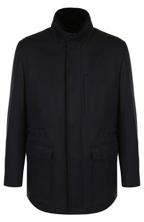 Утепленная куртка на молнии с воротником-стойкой и внутренней меховой отделкой | Фото №1