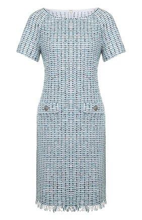 Вязаное мини-платье с бахромой St. John бирюзовое | Фото №1