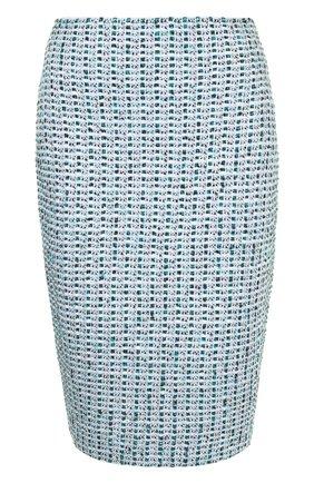 Вязаная юбка-карандаш St. John бирюзовая | Фото №1