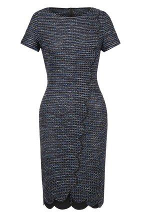 Вязаное мини-платье с контрастной отделкой St. John темно-синее | Фото №1