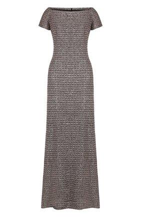 Вязаное платье-макси с открытыми плечами St. John розовое | Фото №1