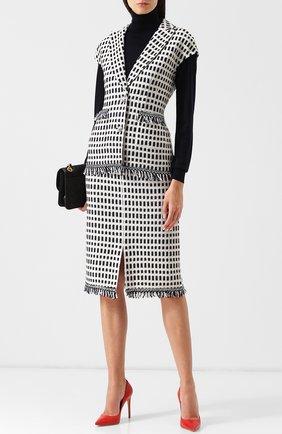Вязаная юбка-карандаш из смеси хлопка и шерсти с бахромой St. John темно-синяя | Фото №1