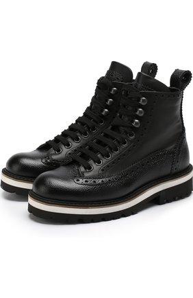 Кожаные ботинки на шнуровке с брогированием | Фото №1