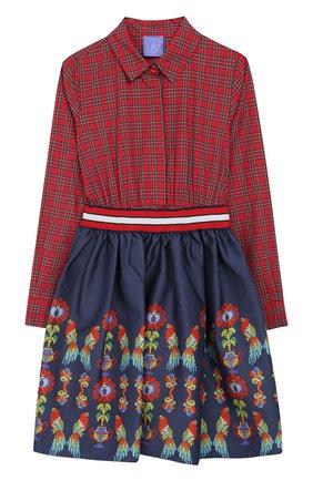 Детское хлопковое платье-рубашка с эластичным поясом Stella Jean Kids разноцветного цвета | Фото №1
