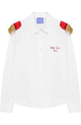 Детская хлопковая блуза с декоративной отделкой Stella Jean Kids белого цвета | Фото №1