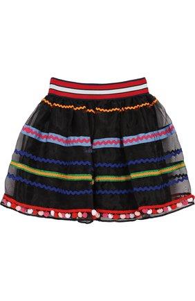 Детская пышная юбка с контрастной отделкой Stella Jean Kids разноцветного цвета | Фото №1