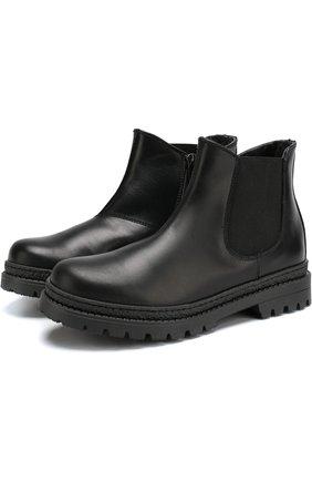Детские кожаные ботинки с эластичной вставкой Montelpare Tradition черного цвета | Фото №1