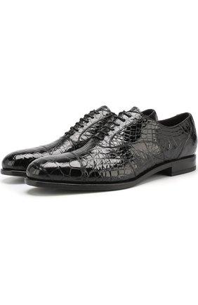 Оксфорды из кожи аллигатора на шнуровке H`D`S`N Baracco черные   Фото №1