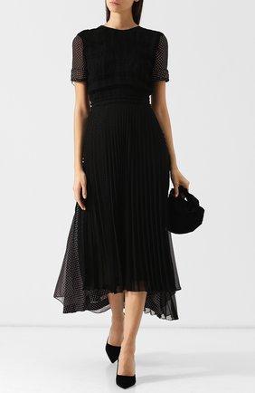 Приталенное платье-миди со складками и принтом Loewe черное | Фото №1