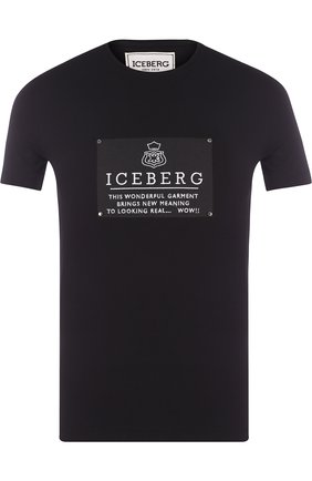 Хлопковая футболка с принтом Iceberg черная   Фото №1