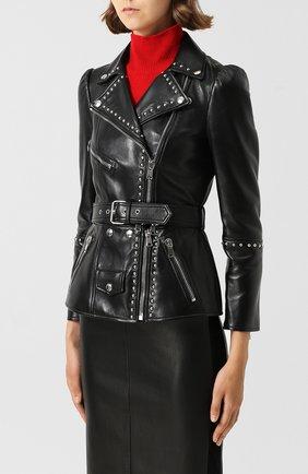 Кожаная куртка с поясом и металлической отделкой | Фото №3