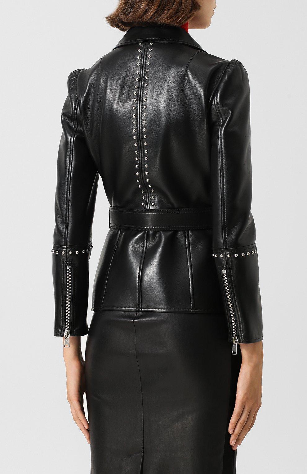 Кожаная куртка с поясом и металлической отделкой | Фото №4