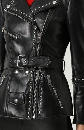 Кожаная куртка с поясом и металлической отделкой | Фото №5