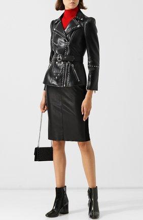 Кожаная куртка с поясом и металлической отделкой Alexander McQueen черная   Фото №1