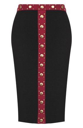 Шерстяная юбка-карандаш с контрастной отделкой   Фото №1