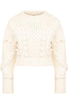Укороченный шерстяной пуловер фактурной вязки Oscar de la Renta белый | Фото №1
