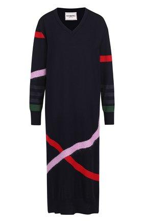 Шерстяное платье-миди с V-образным вырезом и принтом Iceberg разноцветное   Фото №1