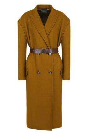 Двубортное шерстяное пальто с поясом | Фото №1