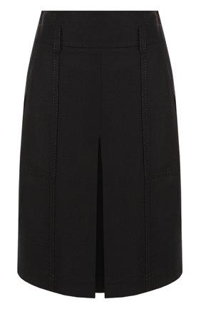 Однотонная шерстяная юбка с накладными карманами | Фото №1