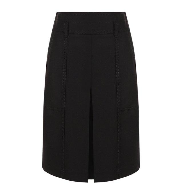 Однотонная шерстяная юбка с накладными карманами Bottega Veneta