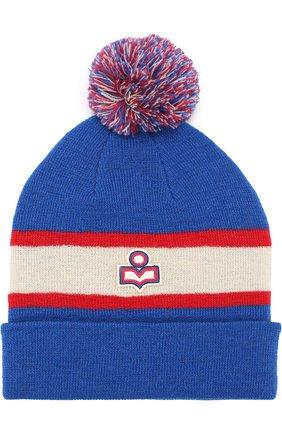 Шерстяная шапка с помпоном Isabel Marant синего цвета   Фото №1