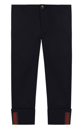 Хлопковые брюки прямого кроя с контрастной отделкой | Фото №1