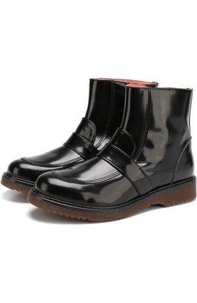 Детские ботинки из лаковой кожи с перемычкой Montelpare Tradition черного цвета | Фото №1