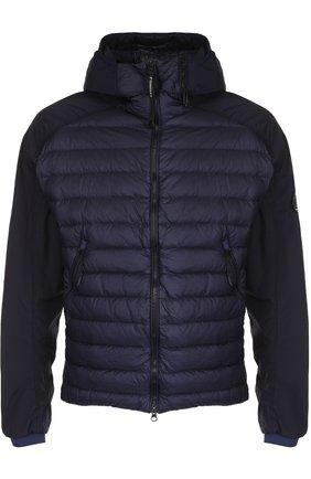 Стеганая куртка на молнии с капюшоном C.P. Company темно-синяя | Фото №1