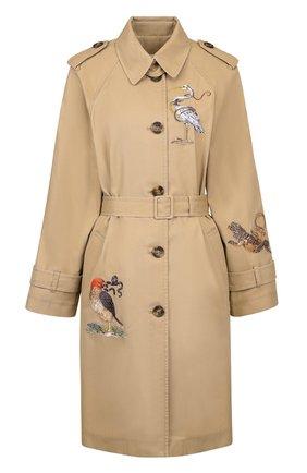 Хлопковое пальто с декоративной вышивкой и поясом REDVALENTINO бежевого цвета | Фото №1