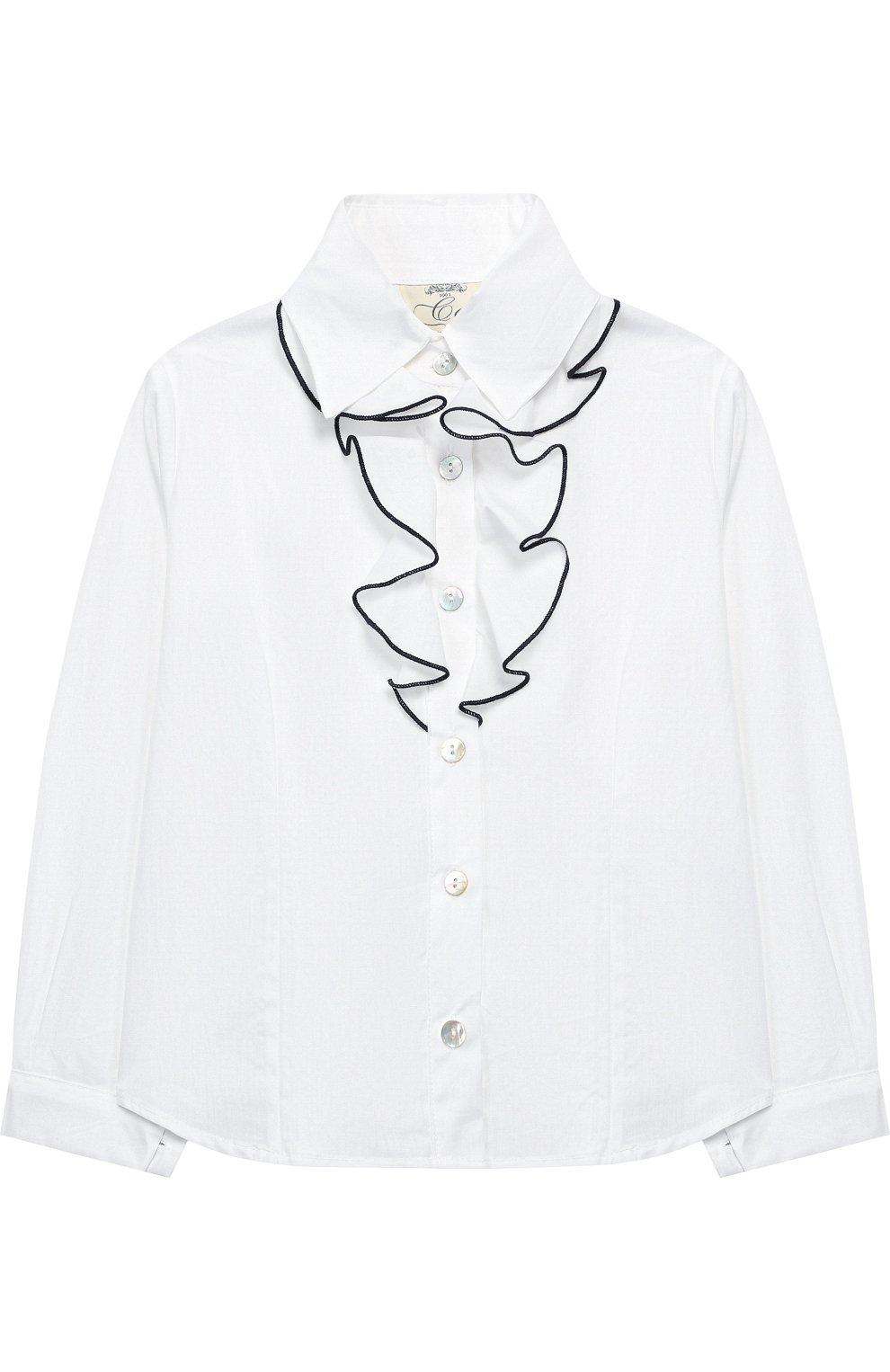 Хлопковая блуза с декором   Фото №1