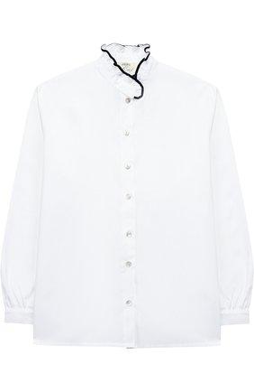 Хлопковая блуза с оборкой   Фото №1