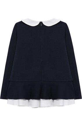 Блуза с баской и контрастной отделкой | Фото №2