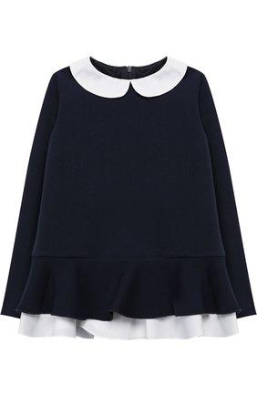 Блуза с баской и контрастной отделкой | Фото №1