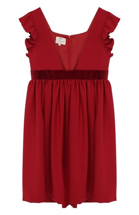 Платье с оборками и бархатной отделкой | Фото №1